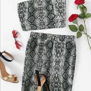 snake print bandeau and slim fitted skirt set
